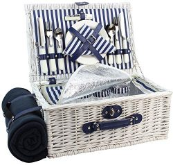 Picnic Basket Willow for 4 Persons | Large Wicker Hamper Set with Big Insulated Cooler Compartme ...