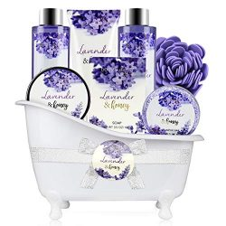 Bath and Body Gift Set – Body & Earth 8 Pcs Bath Spa Gift Sets Lavender&Honey Scen ...