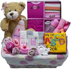 Bundle of Joy Deluxe Baby Gift Basket | New Baby Boy & New Baby Girl Gifts (Pink)