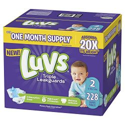 Luvs Ultra Leakguards Disposable Baby Diapers, Size 2, 228Count, ONE MONTH SUPPLY (Packaging May ...