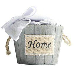 Brielle 5 Piece Washcloth Set, Wooden Basket Container, Grey & White