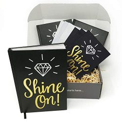 Shine On! Bullet Journal and Thank You Card Gift Kit by Appreciation in a Box – Set of 3 D ...