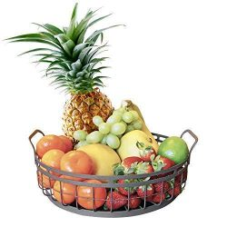 Farmhouse Decor Fruit Basket – Regal Trunk & Co. Home Decor Round Wire Basket | Rustic ...