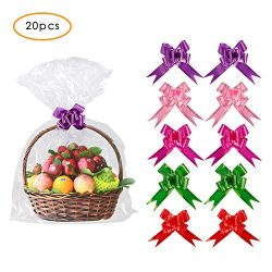 20 Pack Clear Basket Bags Pull Bow Set 10 Pack Packaging Bags Cello Cellophane Wrap and 10 Pack  ...