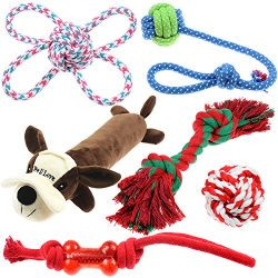 Well Love Dog Toys – Chew Toys – 100 Natural Cotton Rope – Squeak Toys – ...