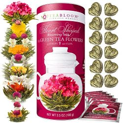 Teabloom Heart Shaped Flowering Tea – 12 Assorted Blooming Tea Flowers – Green Tea + ...