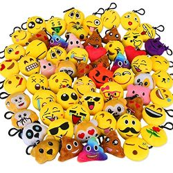 Dreampark Emoji Keychain Mini Cute Plush Pillows, Key Chain Kids Supplies, Party Favors for Kids ...