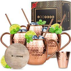 Moscow Mule Copper Mugs Set : 4 16 oz. Solid Genuine Copper Mugs Handmade in India,BONUS: Highes ...