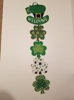 "String Shamrock Shaped ""Welcome"" Door Hanging Sign – St. Patricks Day Decorations"