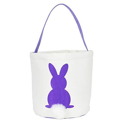 Finerplan 1 Pcs Bag Handbag Rabbit Bunny Easter Candy Snack Basket Cookies Pocket Kids Gift