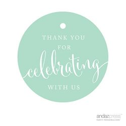 Andaz Press Circle Gift Tags, Thank You For Celebrating With Us, Mint Green, 24-Pack, Round Than ...
