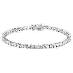PAVOI 14K Gold Plated Cubic Zirconia Classic Tennis Bracelet | White Gold Bracelets for Women |  ...