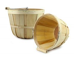 Cornucopia Brands Round Wooden Baskets (2-Pack, Natural); Wood Fruit Buckets with Handle, 4-Quar ...