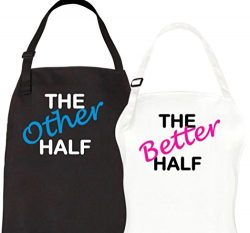 Let the Fun Begin Other Better Half Aprons, Couples Bridal Shower Gift Set, His Hers Wedding Eng ...