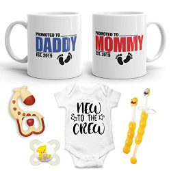 "2019 Est Pregnancy Gift – New Promoted to Mommy & Daddy 11 oz mug set with""New t ..."