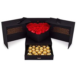 Eternal Roses and Chocolates Gift Box   Romantic Gift Basket with Real Preserved Roses and Hazel ...