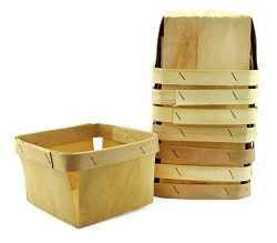 Cornucopia One Quart Wooden Berry Baskets (8-Pack); 5.75-Inch Square Vented Wood Boxes for Fruit ...