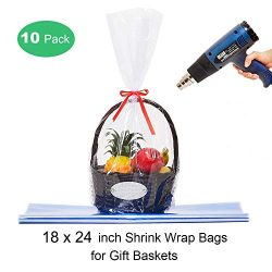 LazyMe Clear Basket Cellophane Bags Shrink Wrap Bags Cello Bags for Gift Basket, 18×24 inch ...
