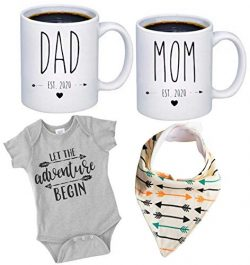 "Pregnancy Gift Est 2020 – New Mommy and Daddy Est 2020 11 oz Mug Heart Set with""Let  ..."