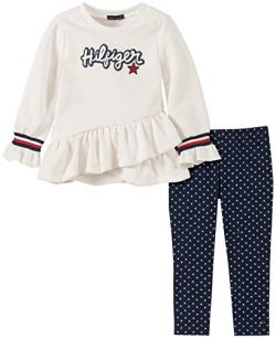 Tommy Hilfiger Girls' Toddler 2 Pieces Legging Set, Marshmallow/Peacoat Print, 3T