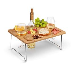 Tirrinia Outdoor Wine Picnic Table, Folding Portable Bamboo Wine Glasses & Bottle, Snack and ...