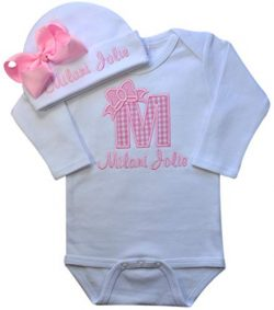 Baby Girl Embroidered Initial Onesie Bodysuit and Matching Grosgrain Bow Hat with Your Custom Na ...