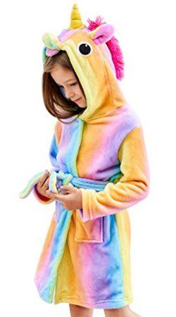 Soft Unicorn Hooded Bathrobe – Unicorn Gifts for Girls (5-6 Years, Rainbow)