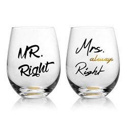 Mr. Right and Mrs. Always Right Wedding Wine Glasses, Funny Couple-Gifts for Bridal Shower-Newly ...