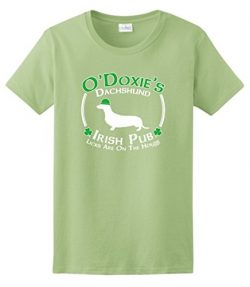 Dog Owner Gifts St Patricks Day Dog Dachshund Doxie Irish Pub Sign Ladies T-Shirt 2XL Pstch