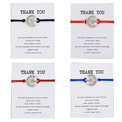 Pipitree 4Pcs Thank You Wish Bracelet Gift Card Friendship Jewelry Tree of Life Charm Bracelet,T ...
