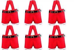 HOSL 6 Pack Christmas Presents Basket Christmas Candy Bags Christmas Gift Bags Portable Santa Ap ...