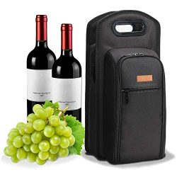 ALLCAMP 9 Piece Wine Travel Bag and Insulated Wine Carrier Tote Carrying Cooler Bag with Handle, ...