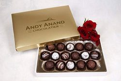 Andy Anand Belgian Sugar Free Chocolate Truffles 16 Pieces Gift Boxed & Greeting Card, Truff ...