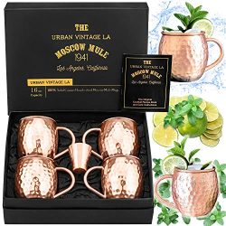 Moscow Mule Copper Mugs Set of 4 with Shot Glass & Recipe Book in Large Gift Box, Premium Ha ...