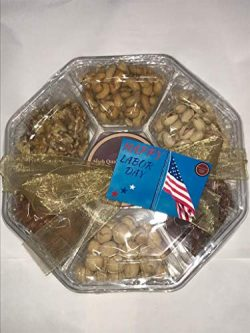 Happy Labor Day Gift Baskets Holiday Nuts Gift Baskets Gourmet Mix Large 7 Sectional Delicious V ...