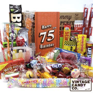 VINTAGE CANDY CO. 75TH BIRTHDAY RETRO CANDY GIFT BOX – 1944 Decade Childhood Nostalgia Can ...