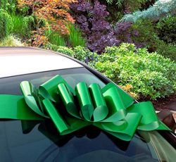 Big Emerald Green Car Bow – 25″ Wide, Large Ribbon Gift Decoration, Fully Assembled, ...
