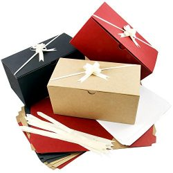 Colored Gift Boxes 9 x 4.5 x 4.5 inch Set of 10 Including Pull Bows and Tissue Paper. Perfect to ...