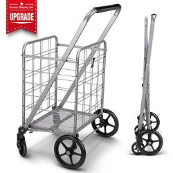 Newly Released Grocery Utility Flat Folding Shopping Cart with 360° Rolling Swivel Wheels Heavy  ...