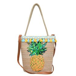 Vintage Straw Woven Handbag OULII Pineapple Decals Summer Beach Tote Bag Basket Crossbody Should ...