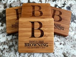 Personalized Wedding Gifts and Bridal Shower Gifts – Monogram Wood Coasters for Drinks (Se ...