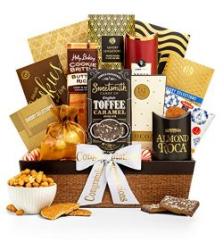 GiftTree Encore Gourmet Congratulations Gift Basket | Assortments of Popcorn, Almond Roca, Honey ...