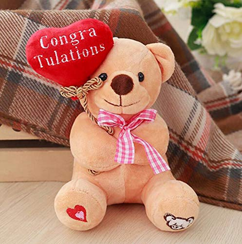 Ruzucoda Plush Teddy Bear with Heart Congratulations Greeting Gifts Toys Brown 8 Inches