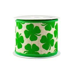 Four Leaf Clover Wired Ribbon – 2 1/2″ x 10 Yards, Emerald Green Shamrocks on Natura ...