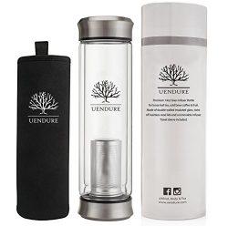 Glass Tea Infuser Travel Mug with Strainer | 14oz Tea Tumbler Bottle for Loose Leaf Tea, Matcha, ...