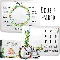 Baby Monthly Milestone Blanket |Double Sided + Wreath Frame| Growth Month Blanket – Best S ...