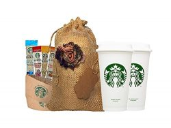 Starbucks Travel Coffee Reusable Recyclable Cups With Lids, Sleeves, Via Instant Coffee Sampler  ...