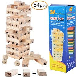 VJK Wooden Tower Toy Set Stacker Board Building Blocks Educational Kids Gifts Timber Tower Wood  ...