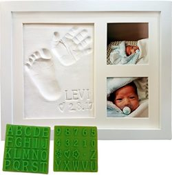 Baby Handprint & Footprint Keepsake Photo Frame Kit – Personzalize it w/Free Stencil!  ...