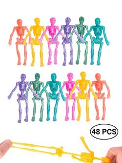 UpBrands 48 Pack Stretchy Skeleton 4 inches Bulk Set 8 Glitter Colors, Kit for Birthday, Hallowe ...